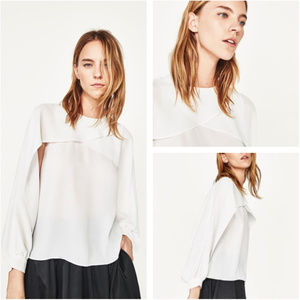 FINAL OFFER Zara White Cape Layer Blouse Size XS